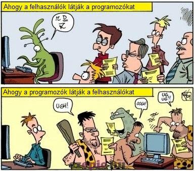 Programozók és felhasználók képregény csík.
