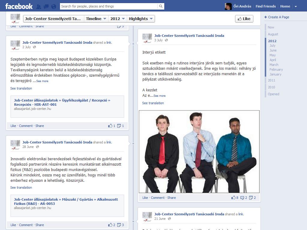 Jobcenter a Facebookon