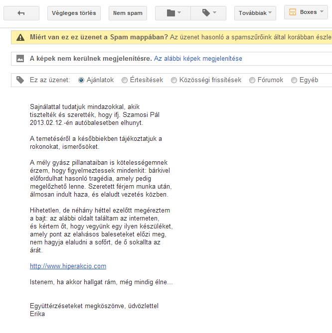 Spam gyászjelentés email