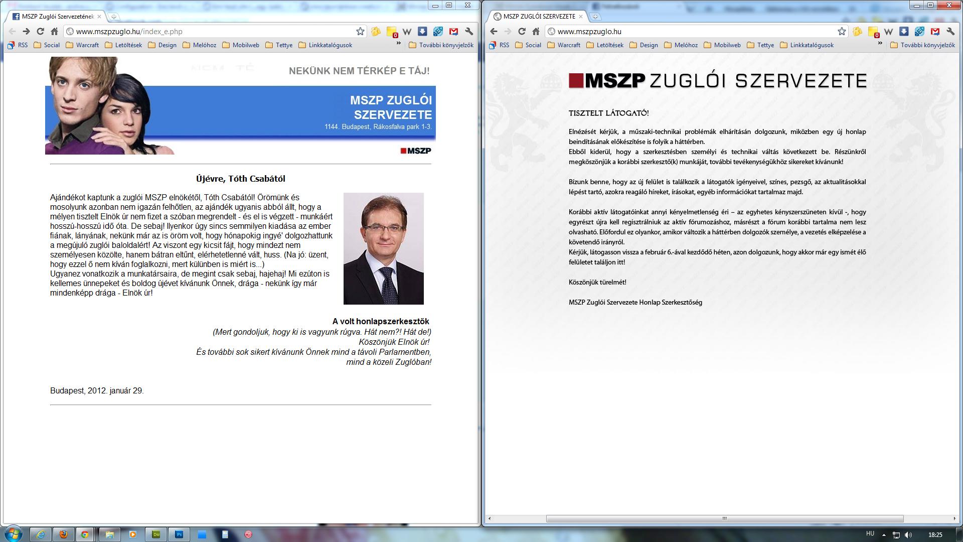 Előtte - utána állapot az MSZP zuglói szervezetének a honlapján.