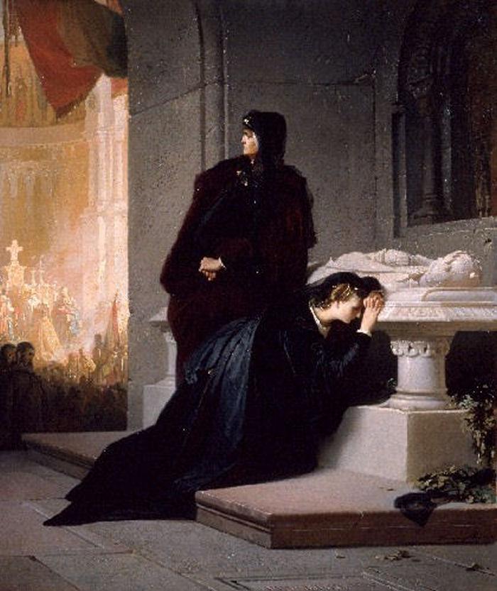 Liezen-Mayer Sándor: Erzsébet és Mária királynők Nagy Lajos sírjánál (1862)